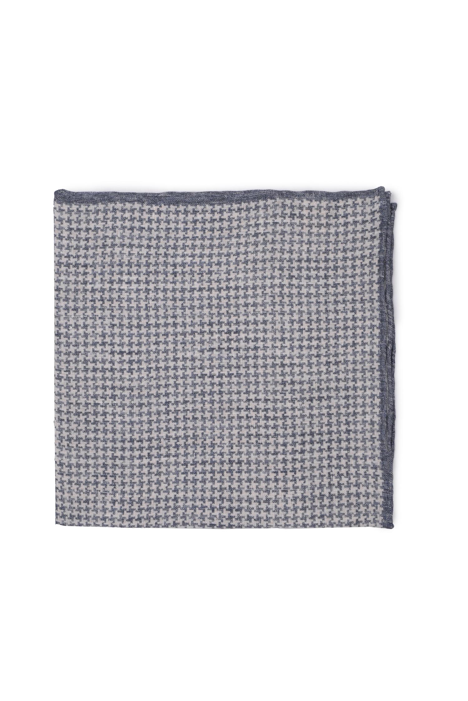 Pochette motif pied-de-poule en lin – indigo   Cadot 92e99f6cfff