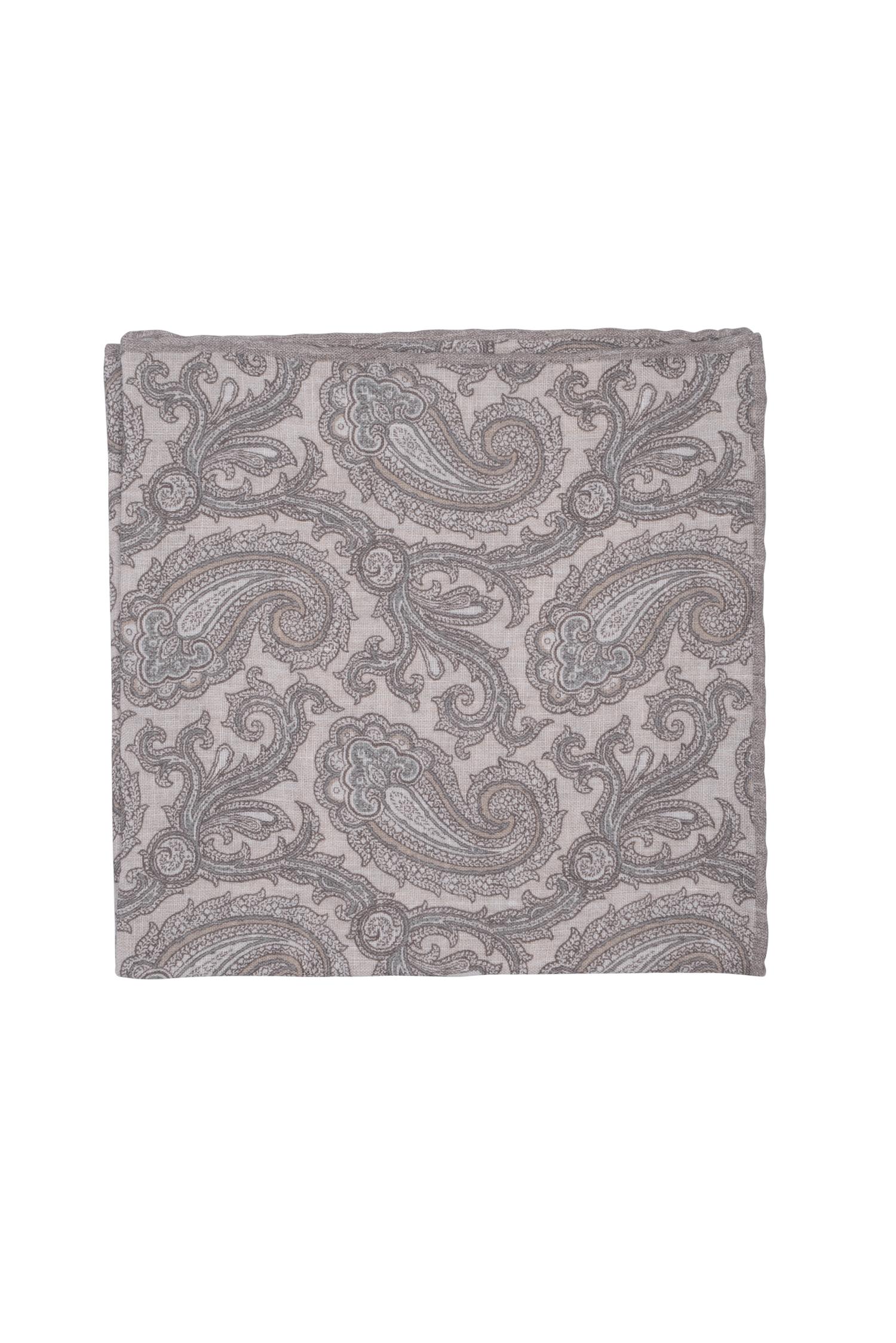 Pochette motifs paisley en lin – beige   Cadot a768bbce7f3