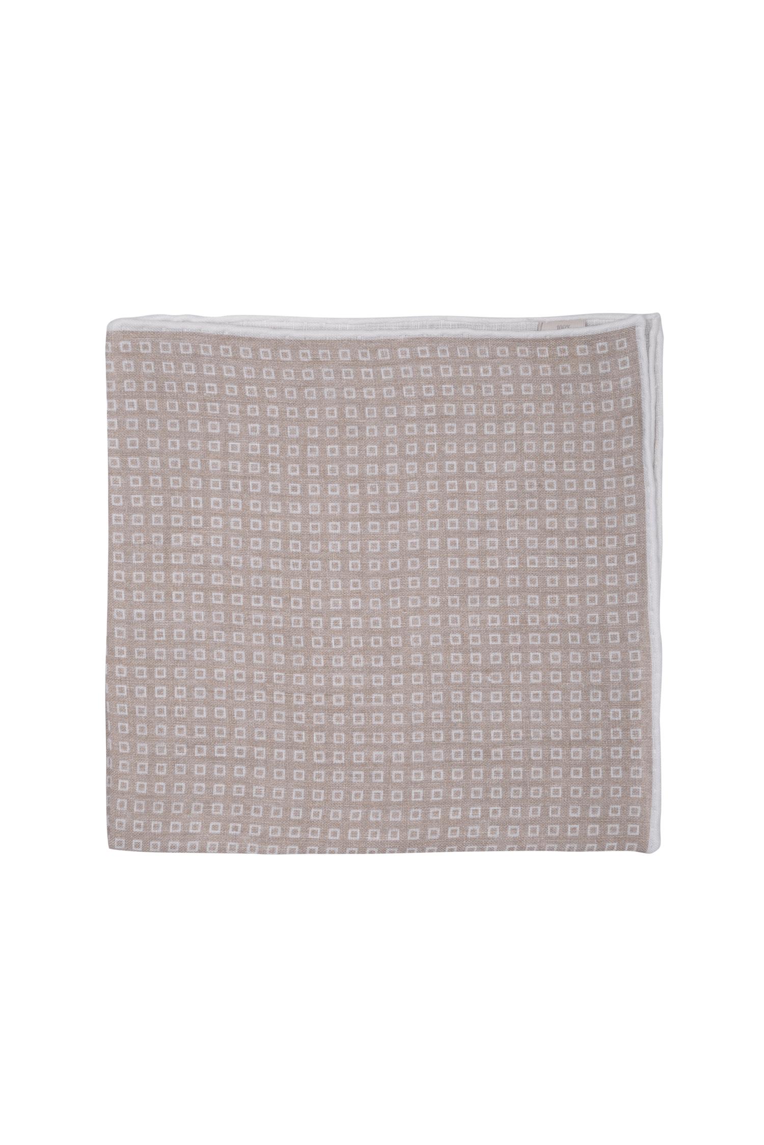 Pochette motif fenêtres en lin – beige blanc   Cadot bdb5590526b
