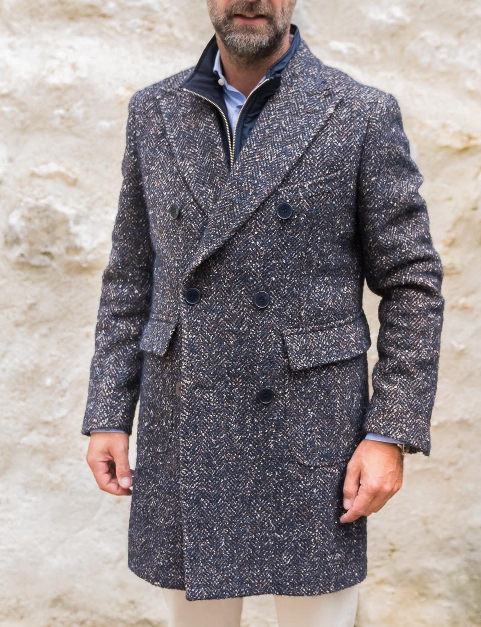 Manteau croisé GABIN en laine mélangée à motifs chevrons   Cadot 5bc4357ed96