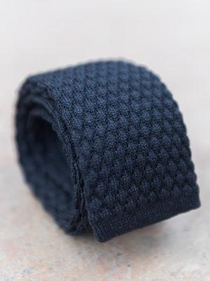 Cravate en tricot de soie motif médaillon – bleu marine 4ec35b85059