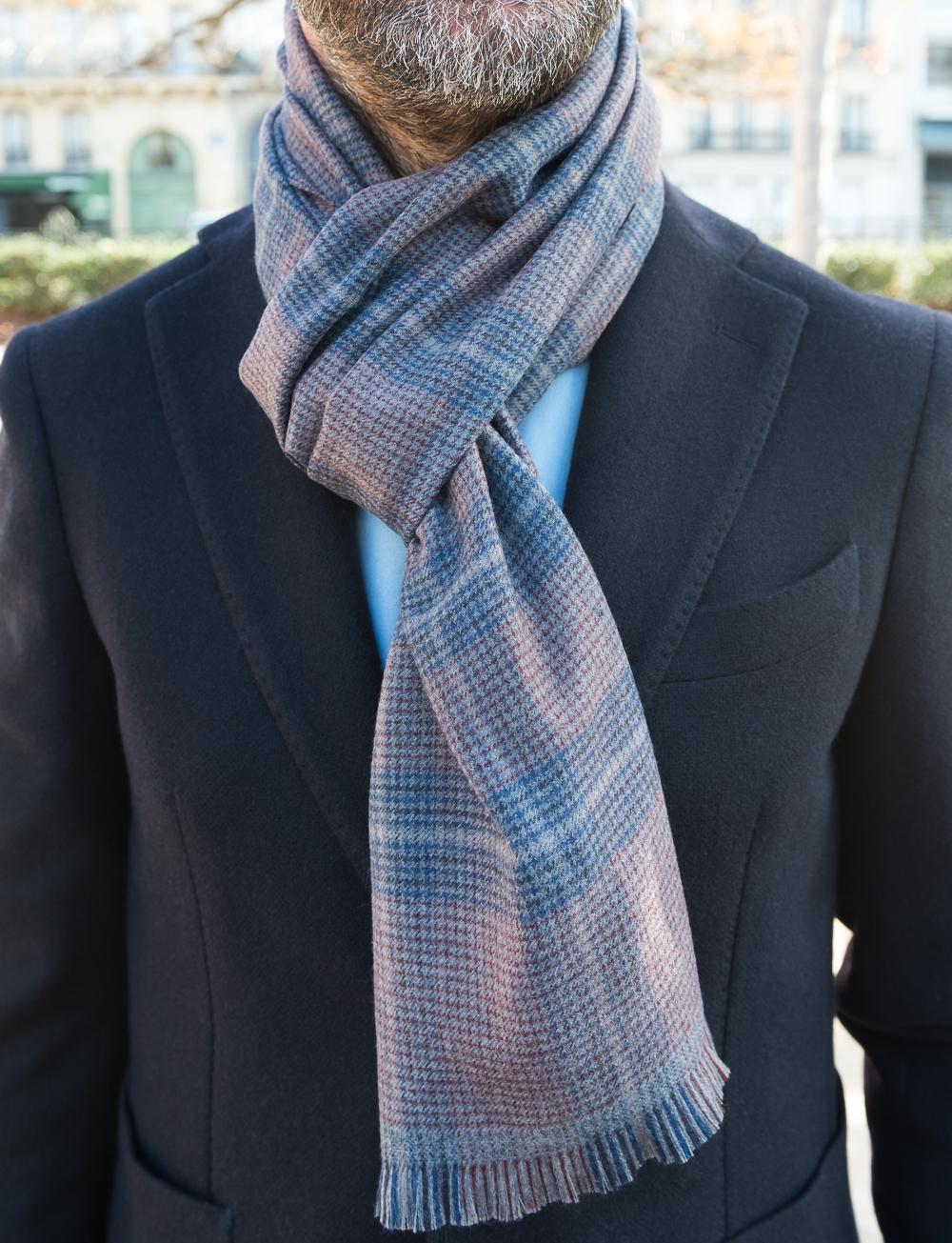 Echarpe en laine à carreaux – bordeaux gris   Cadot 485653497c5
