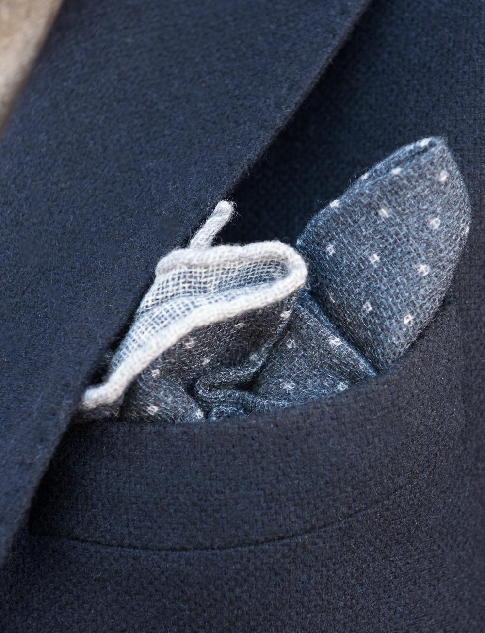 Pochette en cachemire à pois – indigo gris   Cadot fd2f62ed9f1