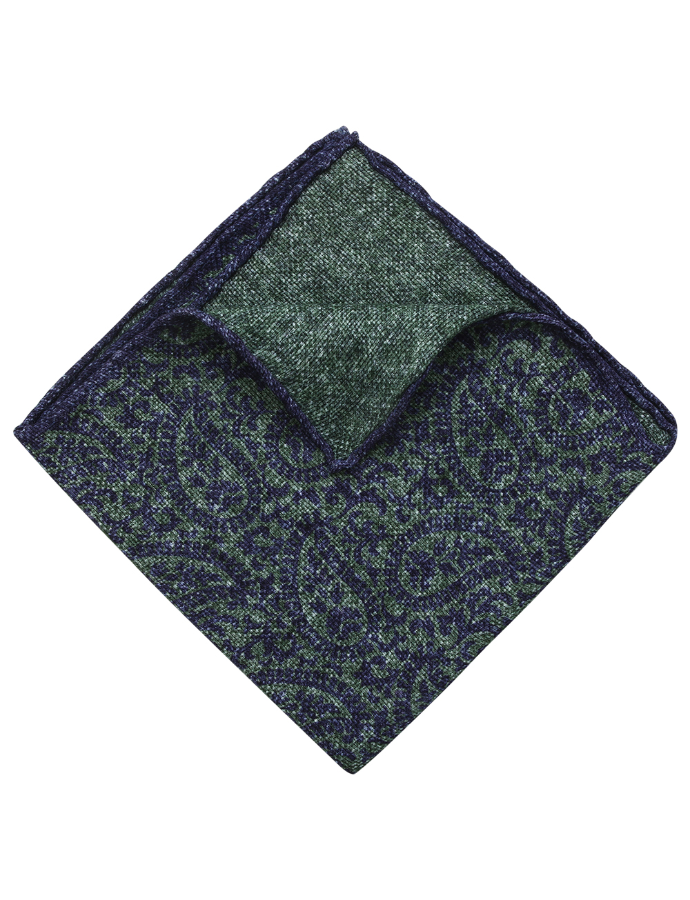 Pochette motif paisley en lin et coton – vert indigo   Cadot f4eeabe0b43