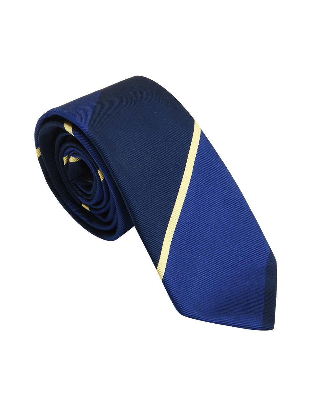 Cravate Club en soie – bleu marine bleu roi jaune   Cadot 9c99b05ddec