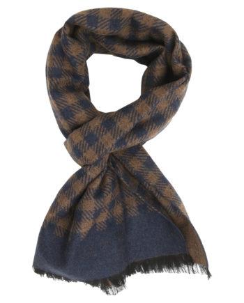 Echarpe à motif pied-de-poule en laine et soie – marron bleu marine e769f873bdb