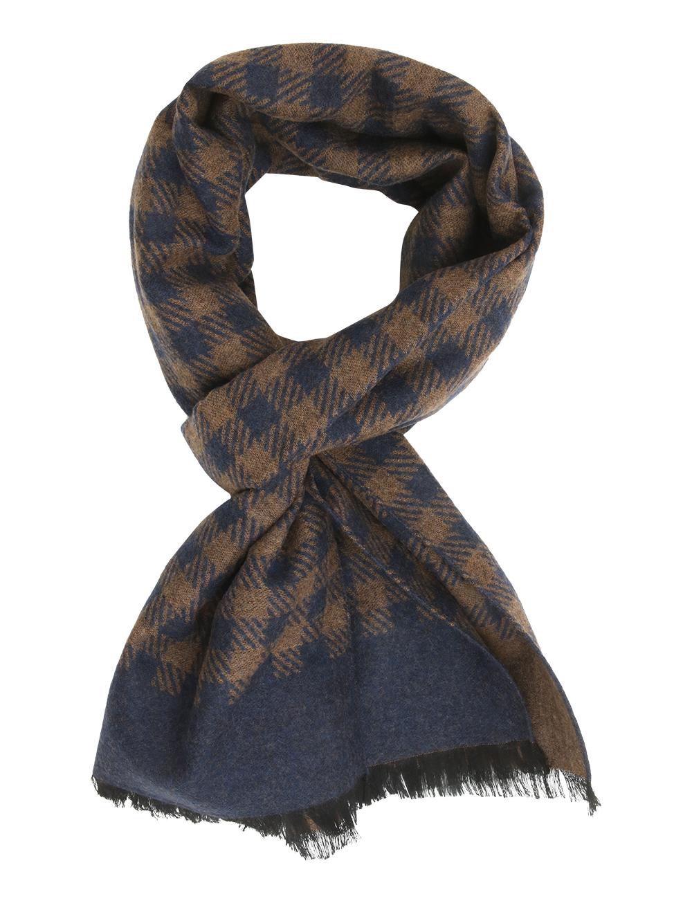 01159babc74 Echarpe à motif pied-de-poule en laine et soie – marron bleu marine. 50%.  50%. 50%
