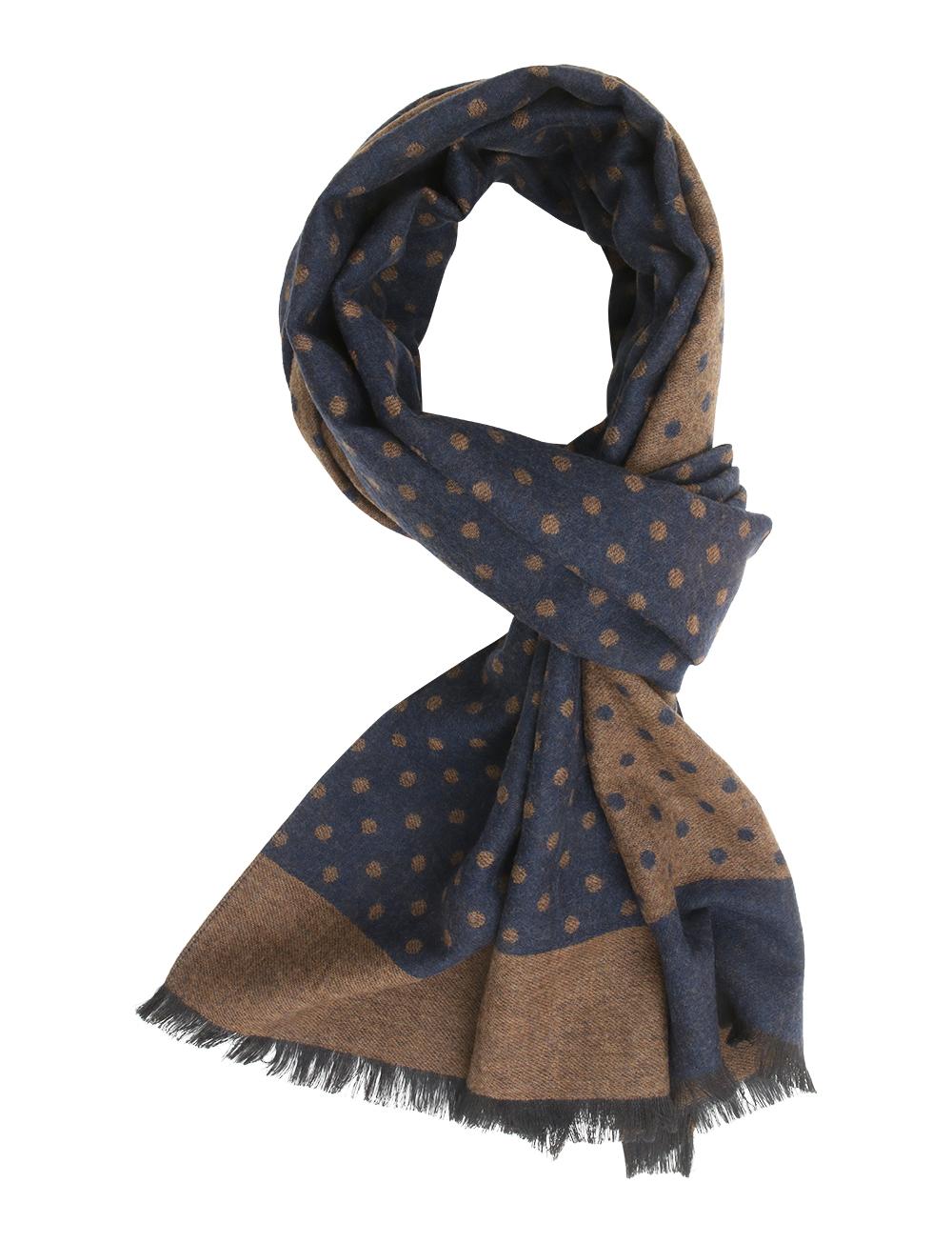 36be7d9bab7 Echarpe à pois en laine et soie – bleu marine marron. 50%. 50%. 50%